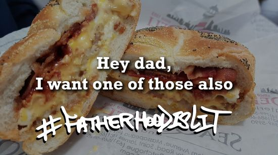 #FatherhoodIsLit Bacon Egg & Cheese Also