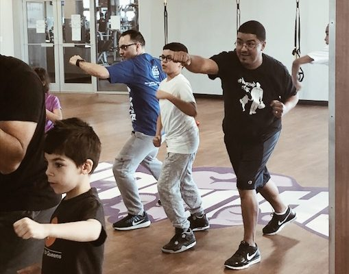 Boxing with kids crunch gym #FatherhoodIsLit